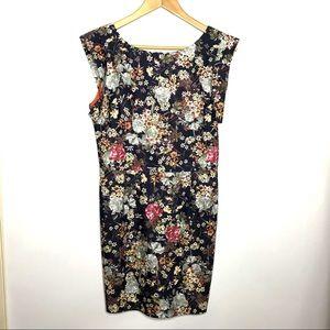 NWT Line & Dot Blue Floral Flare Shoulder Dress